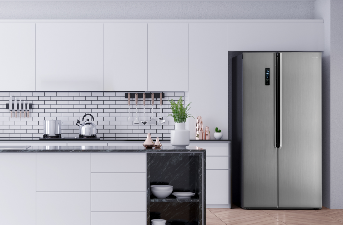 Moderna cocina con frigorífico americano Aspes AFA1182X