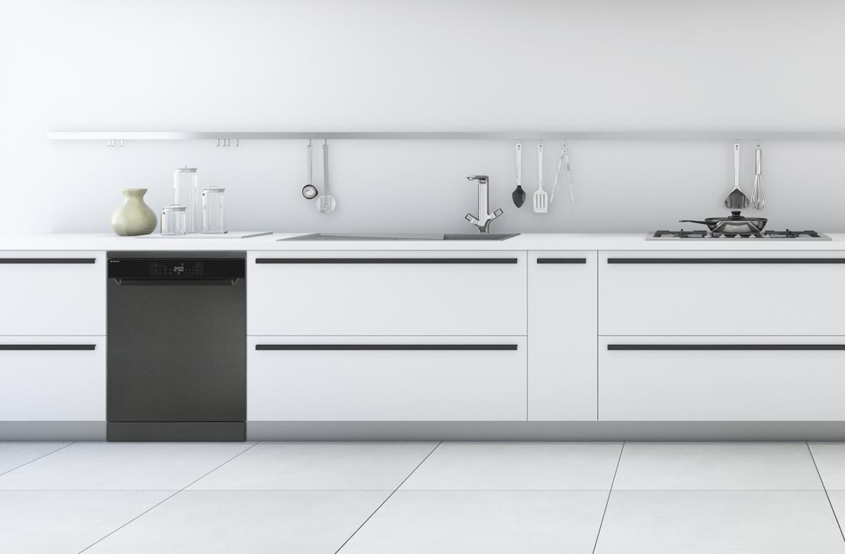 Minimalista cocina blanca con lavavajillas digital dark inox de Aspes ALV137X